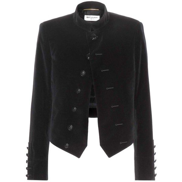 Saint Laurent Velvet Jacket found on Polyvore featuring outerwear, jackets, yves saint laurent, coats, black, black velvet jacket, black jacket and velvet jacket