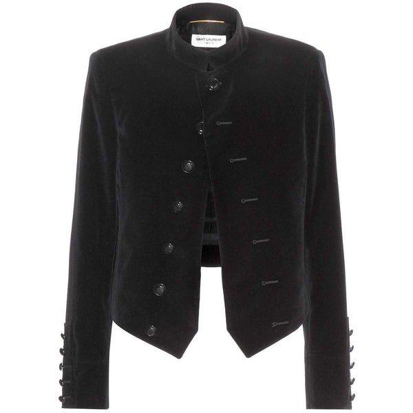 Saint Laurent Velvet Jacket found on Polyvore featuring outerwear, jackets, yves saint laurent, coats, black, black velvet jacket, black jacket and velvet jacket