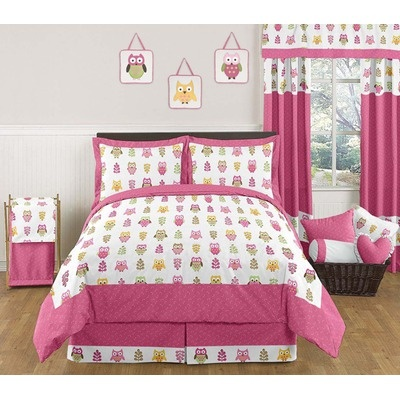 JoJo Designs Happy Owl Pink 3 Piece Full/Queen Bedding Set