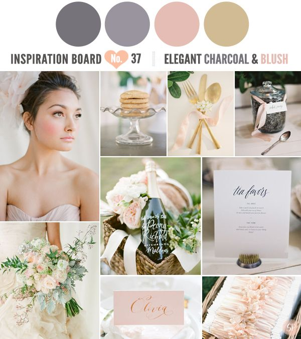 Elegant Charcoal And Blush Inspiration Board Simply Peachy Wedding Blog Pinterest Colors