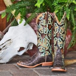 Anderson Bean Turquoise Orleans Croco Square Toe Boots