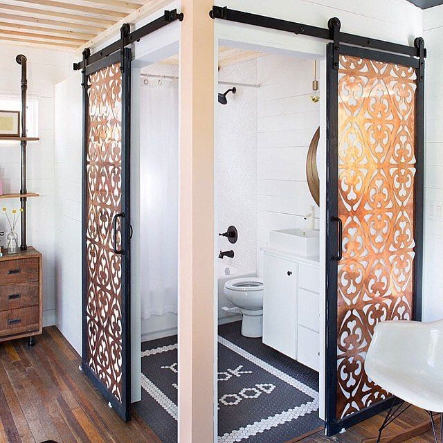 Tight on space? This tiny house by @kimlewisdesigns is a work of art and has lots of creative space saving ideas. #rusticahardware