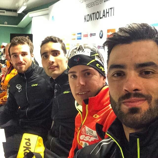 Jean-Guillaume Beatrix, Martin Fourcade, Quentin Fillon Maillet, Simon Fourcade (FRA). #championship #kontiolahti2015