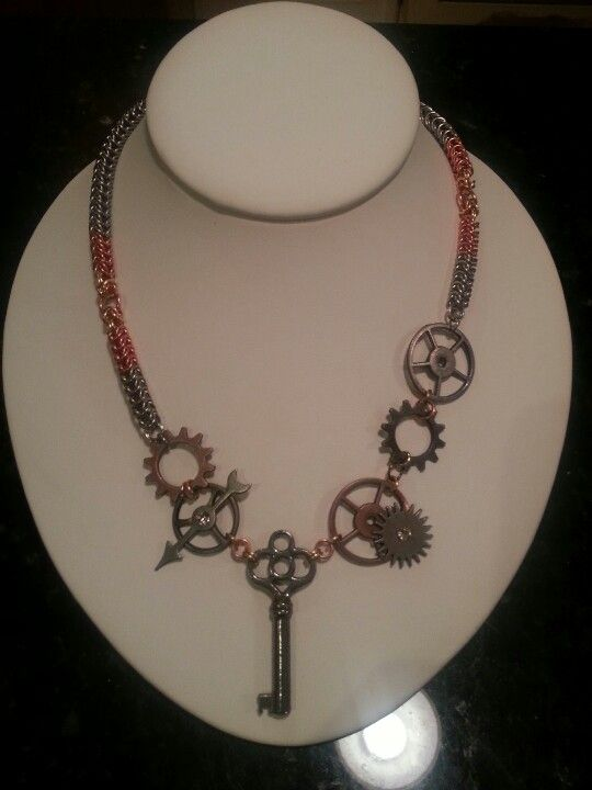 Steampunk Necklace, box maille chain made of copper, stainless, and brass.