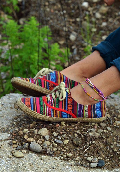 Colorful aztec shoes.