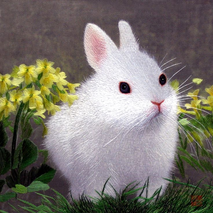 """Rabbit in Narcissus #Beautiful #Handmade #Silk #Embroidery #Art 34077 http://www.queensilkart.com/100-handmade-embroidery-framed-wildlife-animal-rabbit-in-narcissus-34077/ In Feng Shui, rabbits symbolize, tranquility, peace and mildness. In Chinese culture, the word for rabbit sounds like the phrase """"Spitting out a child"""", so rabbit images symbolize generation after generation of prosperous offspring."""