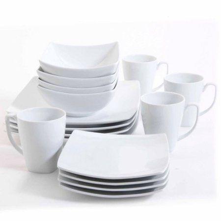 gibson studio bistro dining 16piece square dinnerware set white walmartcom