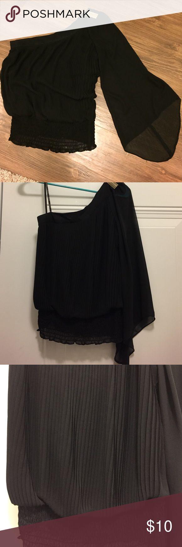 Xoxo one shoulder chiffon blouse. Size M Xoxo black one shoulder blouse top. Broach on left shoulder. Size M XOXO Tops Blouses