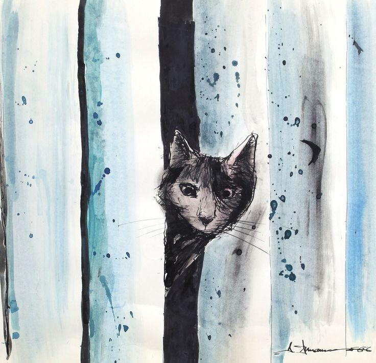 Un petit chat curieux. Encre et aquarelle 1988 par #ainnamaa