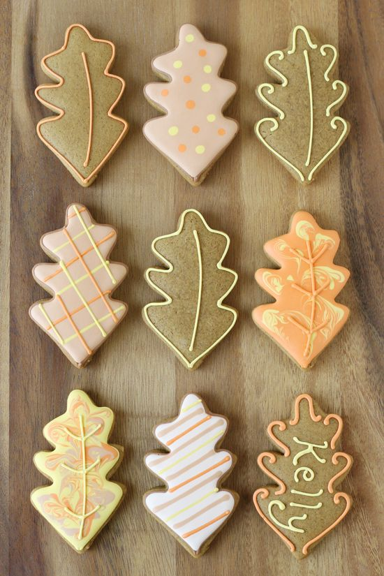 Decorated Leaf Cookies - Simply beautiful cookie ideas!  I like the idea of using a cookie as a placecard--cute!