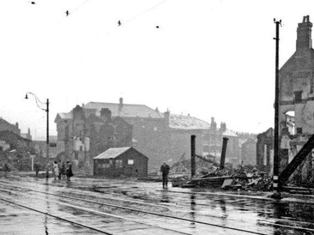 The bombsite at the Hermitage Inn, London Road Sheffield