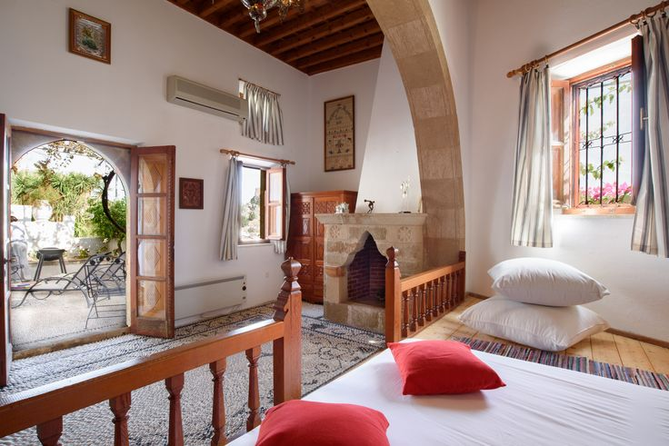 Double bedroom with authentic Lindian architectural features #Lindos #Rhodes #LindianCollection #Seaviews #VillaMeandros