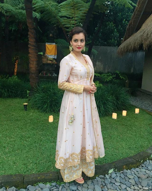 The lovely Dia Mirza in our anarkali ! #indianweddings #indiandesigners…