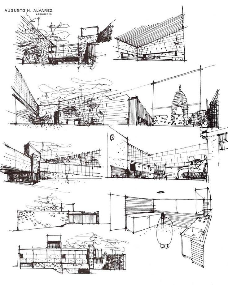 Dibujos, Casa en Yarto, calle Simon Yarto 39, San Ángel Inn, Álvaro Obregón, México, DF 1949  Arq. Augusto H Álvarez  -   Drawings, House on Yarto, calle Simon Yarto 39, San Angel, Alvaro Obergon, Mexico City 1949