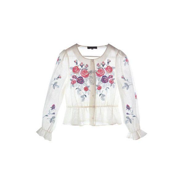 LYNETTE'S CHINOISERIE Elegante rosa bordado fino lanterna manga top... ❤ liked on Polyvore featuring tops, white top and branca