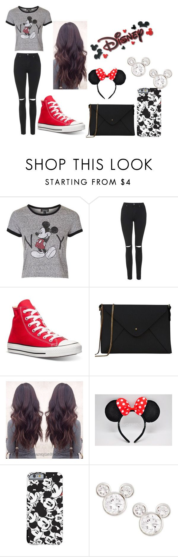 """Edgy Disney Outfit"" by victoria1221 ❤ liked on Polyvore featuring moda, Topshop, Converse, Lizzy Disney i Disney"