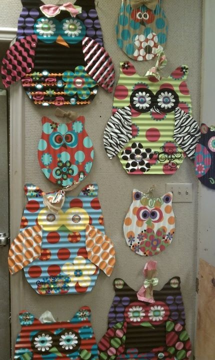 galvanized owls - could make out of cardboard. Kids could dye, then add the parts - eyes, wings etc