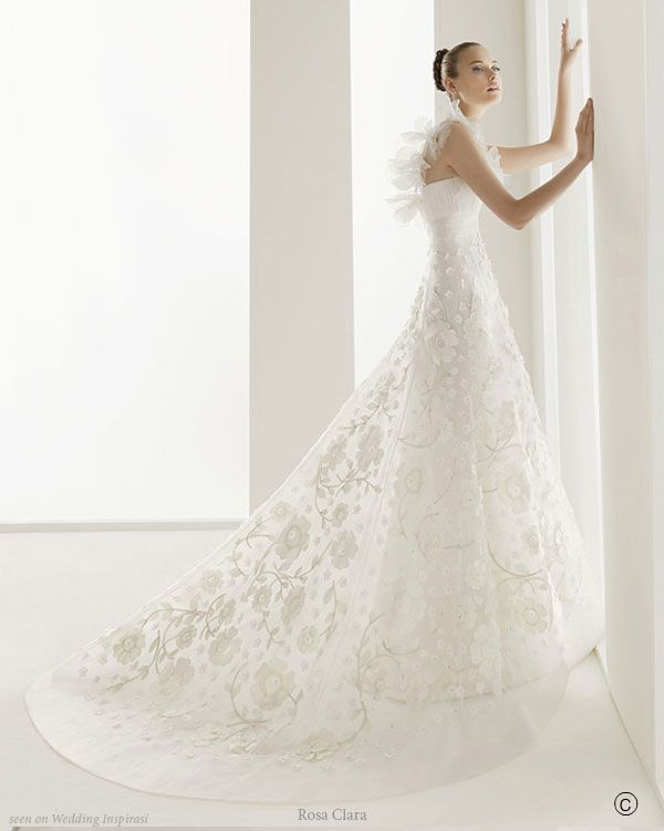 Beautiful floral A-line wedding gown by Rosa Clara