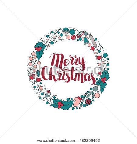 Vector circular wreath, Christmas greeting card template, Merry Christmas.