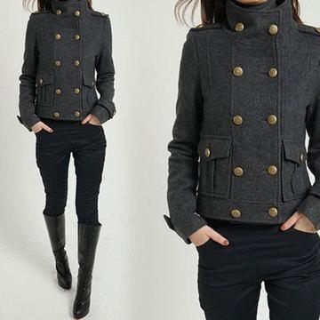 Military Cape Coat Gray