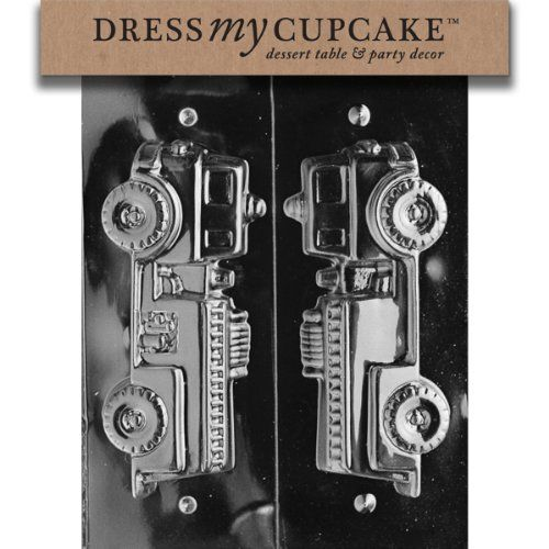 Dress My Cupcake Chocolate Candy Mold, 3D Fire Truck, Set of 6