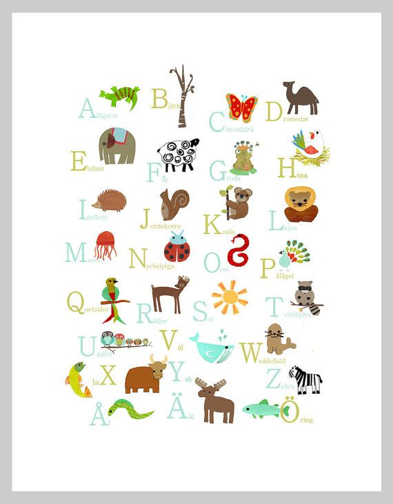 Swedish Alphabet Print 11x14 Nursery Wall Art by ChildrenInspire. Available in Swedish, English, and French!