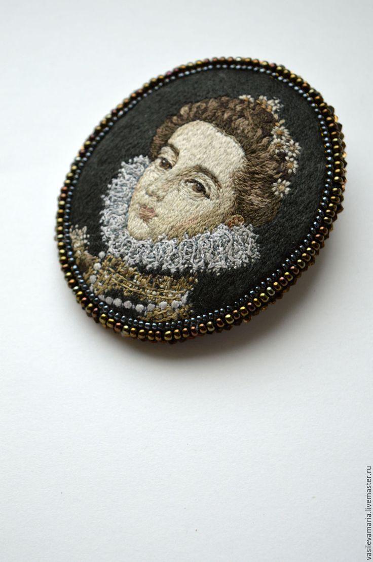 """Купить Брошь """" Портрет инфанты Каталины"""" - комбинированный, портрет, копия картины, картина, вышивка"""