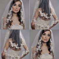Reasonable Price Chic  Wedding Veils For Brides Applique Edge Two-Layer White Beige Ivory Elebow Length Custom Made Bridal Veils