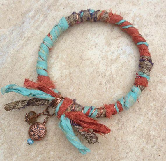 Recycled Sari Ribbon Wrapped Bangle Bracelet by EsKayDesignsSK