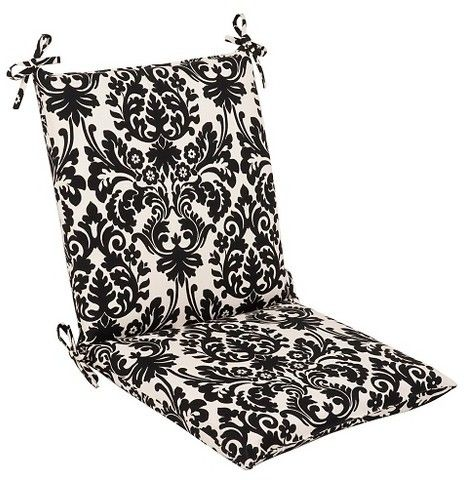 Pillow Perfect Outdoor Seat Pad/Dining/Bistro Cushion - Black/White Floral