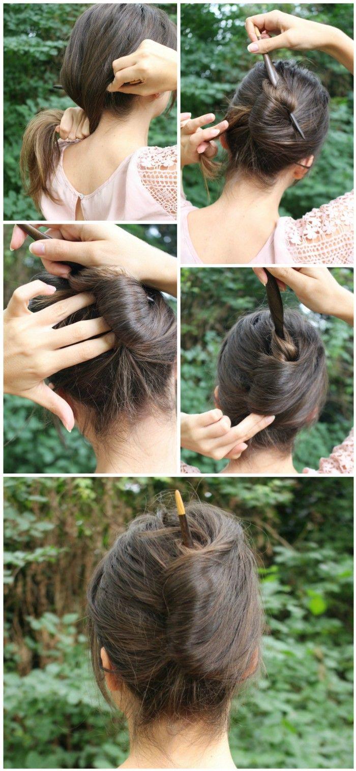 French Twist Using A Hair Stick Hair Sticks Chopstick Hair French Twist