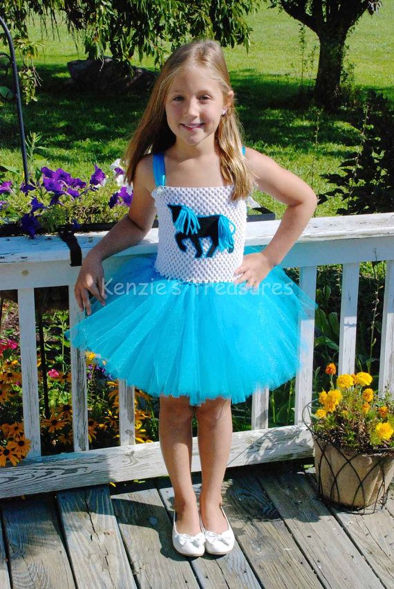 Turquoise Horse/ Cowgirl Tutu Dress  Size NB to 24 Months
