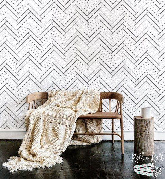 Herringbone Pattern Wallpaper Black And White Minimalist Etsy Removable Wall Murals Pattern Wallpaper Herringbone Wallpaper