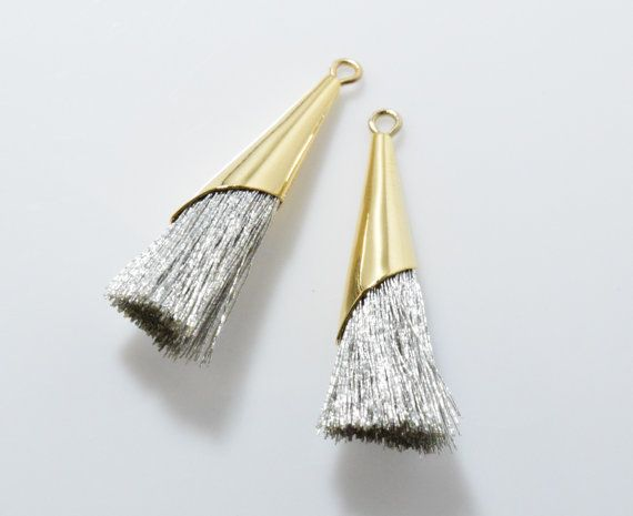 Silver Cotton Cone Tassel (Small) Pendant, Jewelry Craft Supply, Polished Gold - 2pcs / RG0037-PGSV