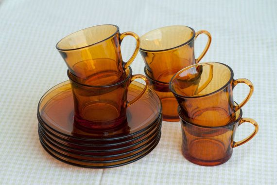 Set of 6 Duralex France Amber Glass Coffee Cups & by HobbyMum, $40.00