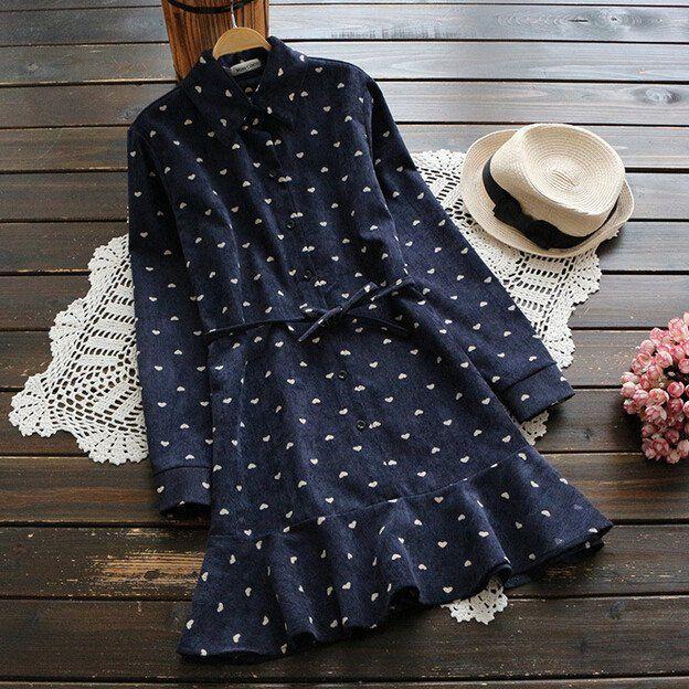 Mori Girl Turn-down Collar Long Sleeve Mermaid Dress