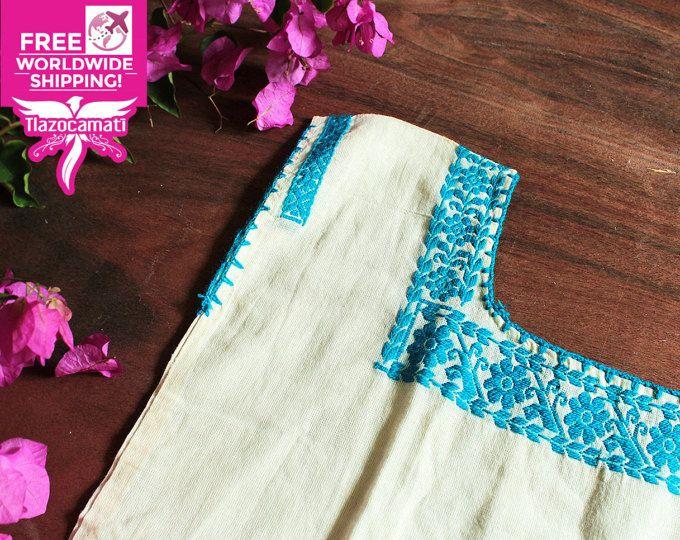 Blusa Mexicana, huipil, boho, playera mexicana, azul, handmade blouse, blusa mexicana bordada a mano, blusa artesanal, único en el mundo