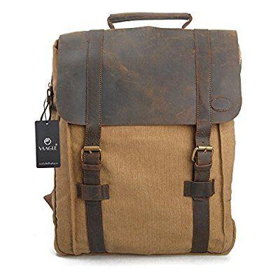 YAAGLE Canvas europäisch Damen und Herren Unisex Retrotasche Rucksack Reisetasche groß Fassungsvermögen Schüler Schultasche Laptoptasche Schultertasche-khkai(Large)