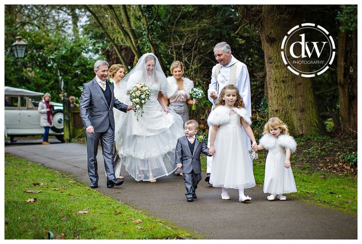 The bridal party arrive ready for the start of the ceremony in Bedfordshire