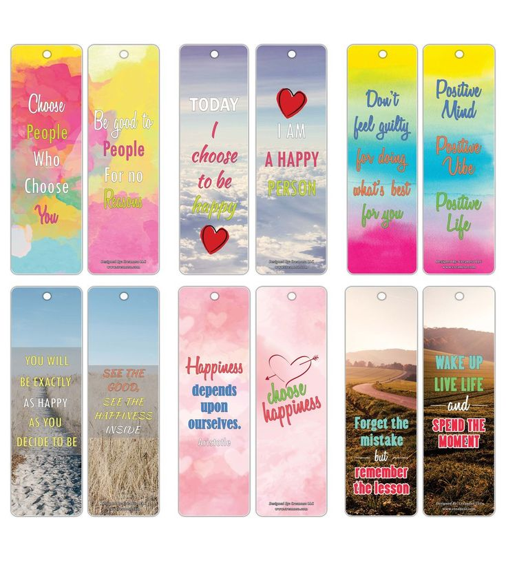 Happiness Life Quotes Positive Sayings Bookmark Cards