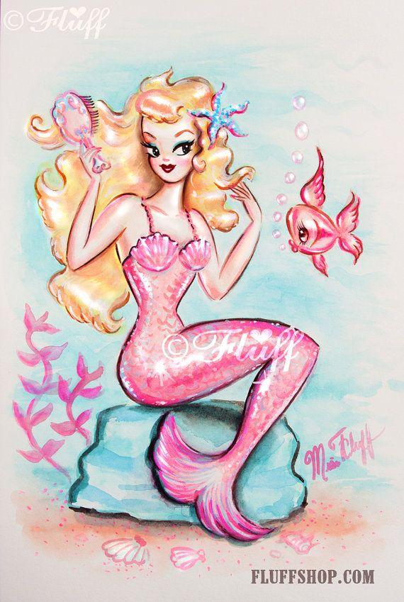 Arte stampa di ispirazione Vintage di sirena bionda