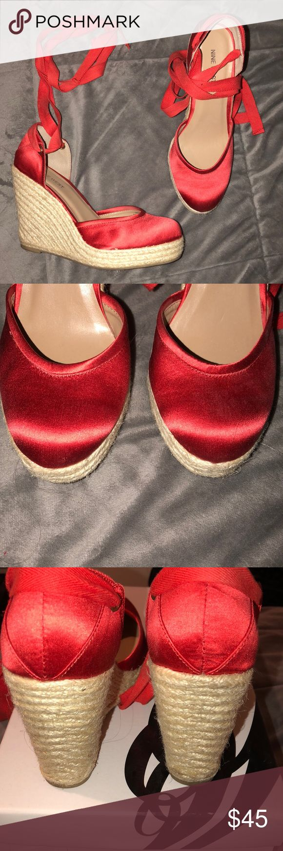 "Nine West Espadrille Wedges in Red Nine West espadrille wedges in red! Only worn a couple of times. Ties at the ankle. So cute with a dress, skirt, or ankle pants! Heel height is about 4.5"" with a 1"" platform. Comes with the original box. Nine West Shoes Wedges"