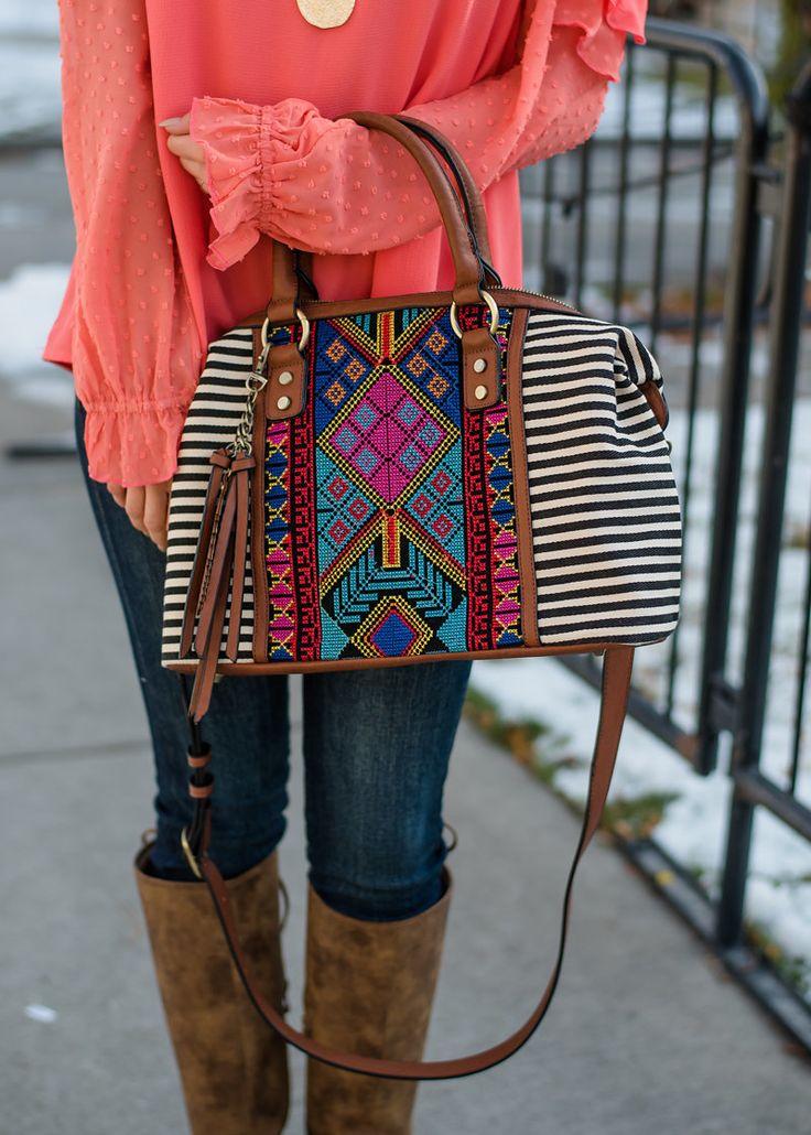 Beaded Embroidered Striped Canvas Handbag Black, Handbag, Shopmvb, Women's Boutique, Online Shopping, Fashion, Style,  Modern Vintage Boutique