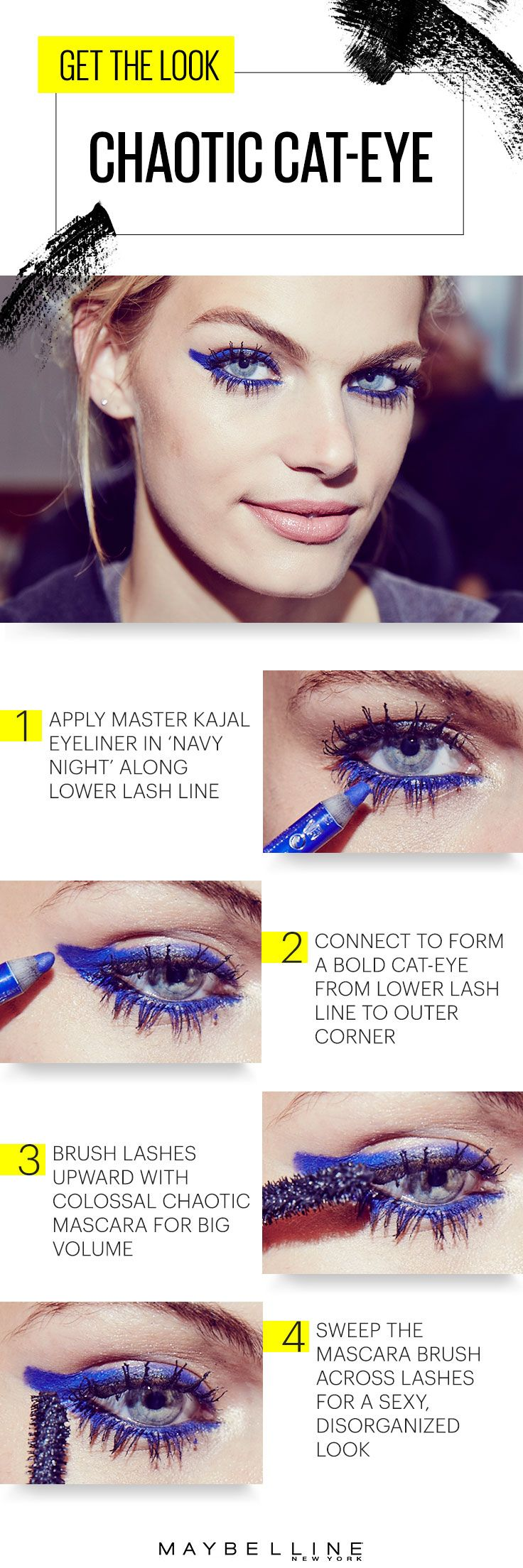 When the sun goes down, embrace the wild eyelash trend that we just can't get enough of. Go electric blue with a graphic winged eye using Master Kajal kohl eyeliner in 'Navy Night'. Create sexy, disorganized lashes with Colossal Chaotic Lash mascara. Finish the look with barely flushed lips, courtesy of Color Sensational Creamy Mattes lipstick. The night is young and the city calls!