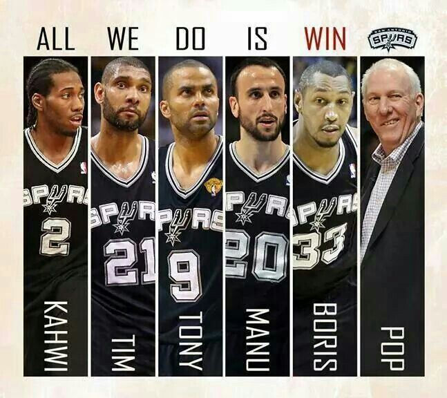 San Antonio Spurs Team. Kawhi Leonard, Tim Duncan, Tony Parker, Manu Ginobili, Boris Diaw & Coach Gregg Popovich