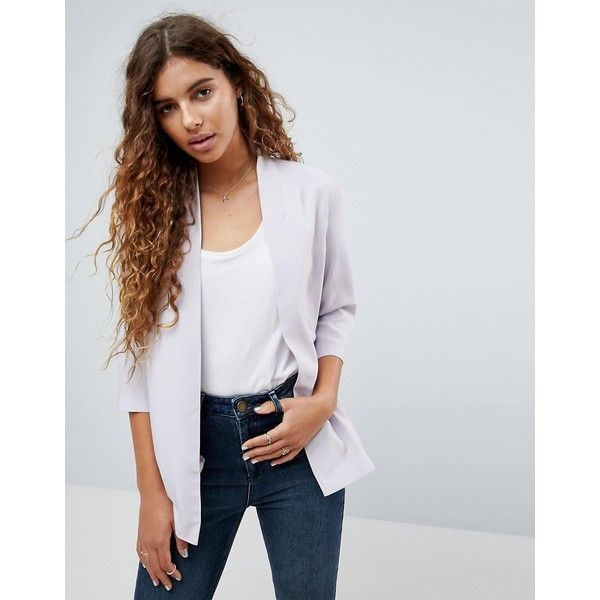 ASOS Soft Chuck On Blazer ($48) ❤ liked on Polyvore featuring outerwear, jackets, blazers, silver, shawl lapel jacket, open front blazer, party blazers, silver jacket and shiny jacket