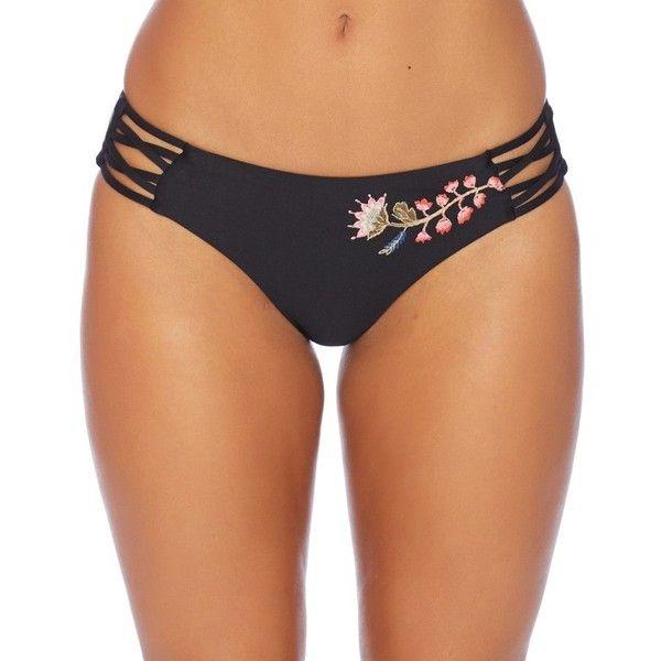 Ella Moss Shiny Spice High Leg Bikini Bottom ($58) ❤ liked on Polyvore featuring swimwear, bikinis, bikini bottoms, bikini bottom swimwear, wet look bikini, retro bikini bottom, swim bikini bottoms and ella moss
