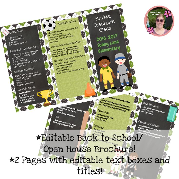 Need an easy way to tell your students' parents all the information they need to know? This Editable Back to School and Open House Brochure with sports graphics and attractive borders is perfect to communicate with your students' parents! This brochure is great for a teacher who doesn't want something pink and glittery!   This Editable Back to School Brochure contains: *A 2 page brochure in Powerpoint, just click on the text boxes to edit your titles and information.