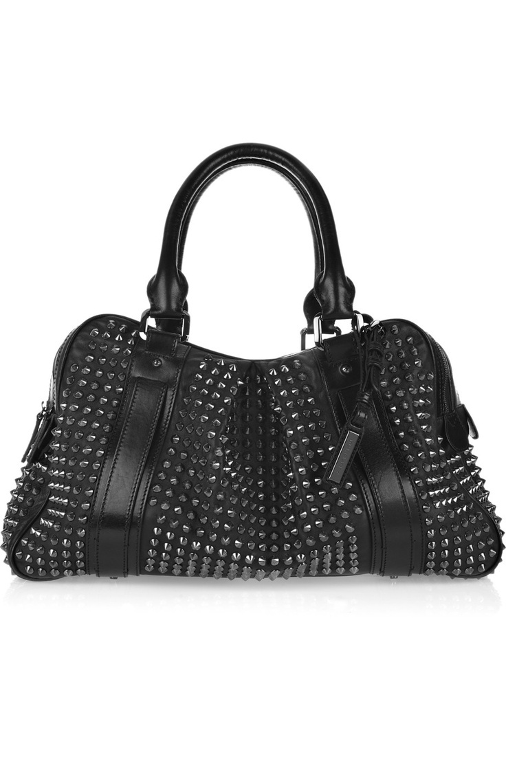 OMG! Burberry's studded black leather travel bag. A Girl Can Dream, Can't She?