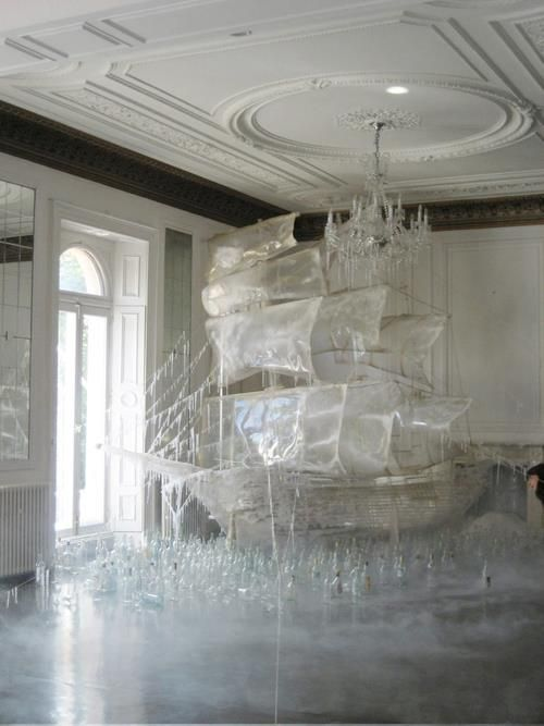 an ice sculpture by the set designer and art director Rhea Thierstein